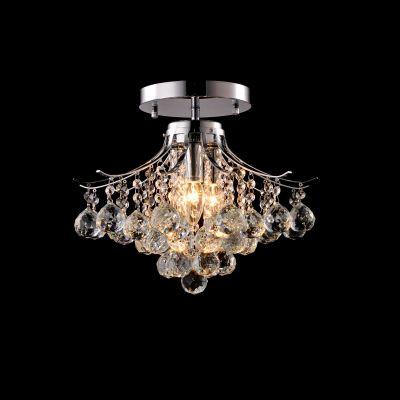 Plafon Sobrepor Lora Cristal Metal Cromado 34x40cm Bella Iluminação 3 E14 Bivolt SS022 Entradas e Corredores