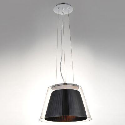 Pendente Conico Voluta Tecido Preto Metal Vidro 50x32,5cm Bella Iluminação 1 E27 Bivolt SU002B Quartos e Salas