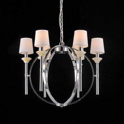 Lustre Madison Aramado Metal Cromado Tecido 58x70cm Bella Iluminação 6 E14 Bivolt UD007 Entradas e Salas
