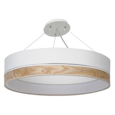 Pendente Void Light Madeira Natural Aço Branco 13x54cm Bella Iluminação 1 LED 65W Bivolt WD009M Quartos e Mesas