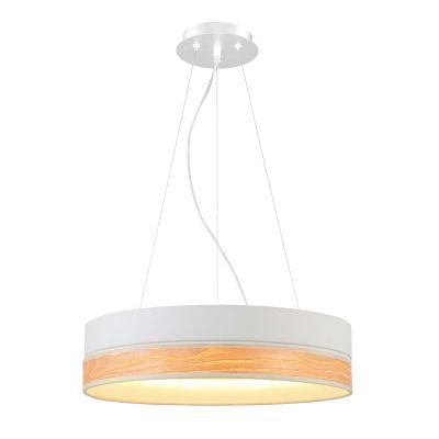 Pendente Void Light Madeira Natural Aço Branco 11x44cm Bella Iluminação 1 LED 43W Bivolt WD009S Quartos e Mesas
