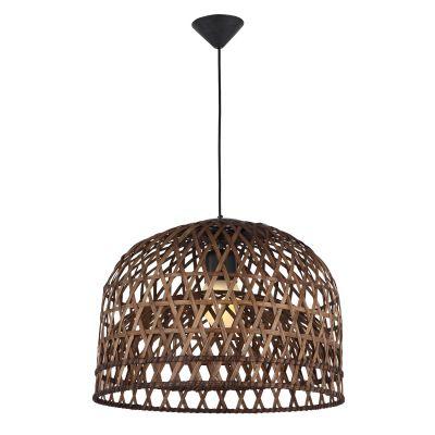 Pendente UTO Decorativo Metal Fibra Marrom 38x33cm Bella Iluminação 1 E27 Bivolt WD014L Entradas e Cozinhas