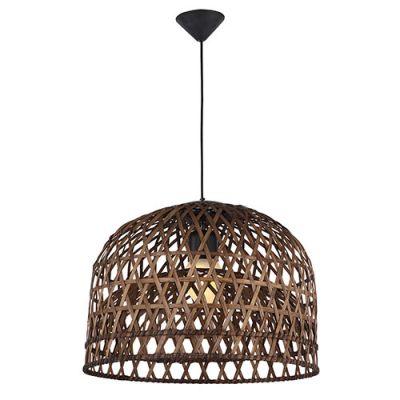 Pendente UTO Decorativo Metal Fibra Marrom 25x33cm Bella Iluminação 1 E27 Bivolt WD014S Entradas e Cozinhas