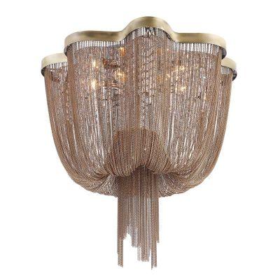 Lustre Ária Imperial Correntes Metal Bronze 40x60cm Bella Iluminação 6 E14 Bivolt WD015B Entradas e Hall