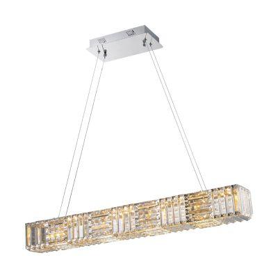Pendente LED Pyxis Aço Cromado Inoxidável Cristal 91x12cm Bella Iluminação 1 LED 56W WE003 Mesas e Balcões