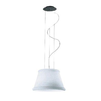 Pendente Conico Vertical Vidro Cristal Branco 44x23cm Bella Iluminação 1 E27 Bivolt WI0002W Cozinhas e Salas