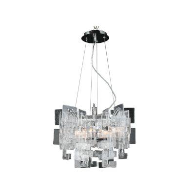 Pedente Placa Vidro Metal Cromado Decorativo 50x42cm Bella Iluminação 8 G9 Halopin Bivolt WI0006M Salas e Cozinhas