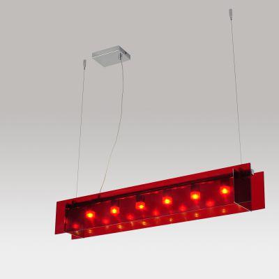 Pendente LED Vermelho Acrílico Aço Cromado 13x90cm Bella Iluminação 6 LED 1W Bivolt WN003A Cozinhas e Balcões
