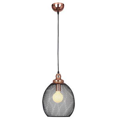 Pendente Copper Aramado Grade Metal Cobre Preto 41x28cm Bella Iluminação 1 E27 Bivolt XN003 Salas e Entradas