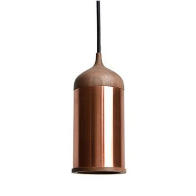 Pendente Cope Tubular Madeira e Metal Cobre 28x11,2cm Bella Iluminação 1 E14 Bivolt XN009 Cozinhas e Balcões
