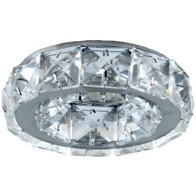Spot Cristal Embutir Redondo Metal Cromado 5x10cm Bella Iluminação 1 GU10 Dicróica Bivolt YD101 Salas e Entradas