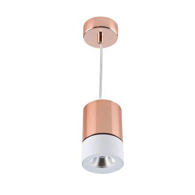 Pendente LED Roll Tubular Alumínio Cobre Branco 12,5x8cm Bella Iluminação 1 LED 5W Bivolt YD1330W Salas e Balcões