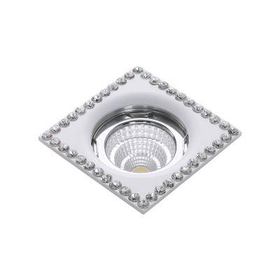 Spot Shine Embutido Cristal Alumínio Branco 2,8x7,5cm Bella Iluminação 1 GU10 Dicróica YD1492 Quartos e Salas