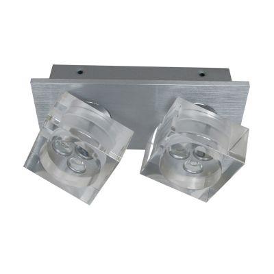 Spot Frost Duplo Soprepor Alumínio Acrílico 8,3x18,8cm Bella Iluminação 6 LED 1W Bivolt YD3402 Quartos e Salas