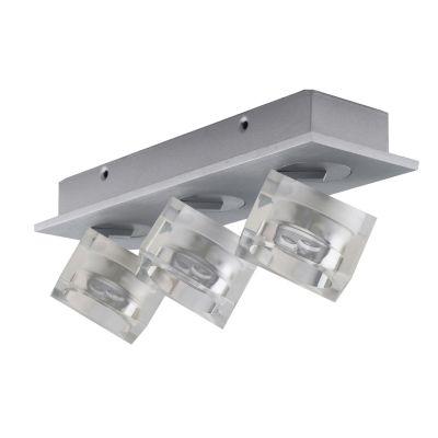 Spot Frost Triplo Soprepor Alumínio Acrílico 8,3x28,6cm Bella Iluminação 9 LED 1W Bivolt YD3403 Salas e Quartos