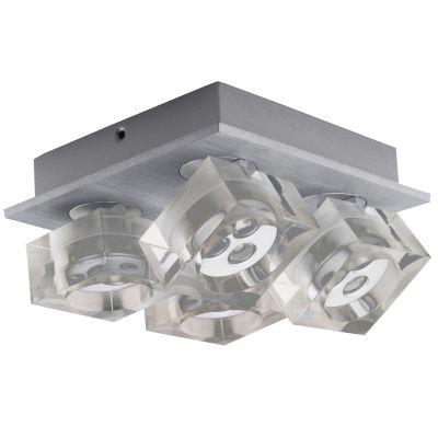 Spot Frost 4 Foco Soprepor Alumínio Acrílico 8,3x18,8cm Bella Iluminação 12 LED 1W Bivolt YD3404 Cozinhas e Salas