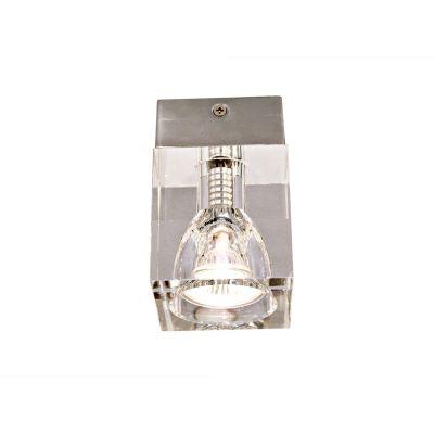 Spot Quad Cristal Transparente Aço Cromado Ø10cm Bella Iluminação 1 GU10 Dicróica Bivolt YD7381 Salas e Quartos