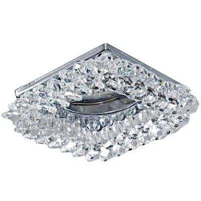Spot Cristal Transparente Embutido Aço Cromado Ø9,5cm Bella Iluminação 1 GU10 Dicróica Bivolt YD763 Salas e Hall