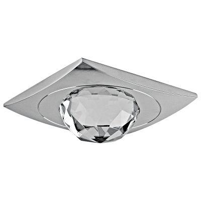 Spot Shine Quad Cristal Alumínio Cromado Ø8,4cm Bella Iluminação 1 GU10 Dicróica Bivolt YD796 Corredores e Quartos