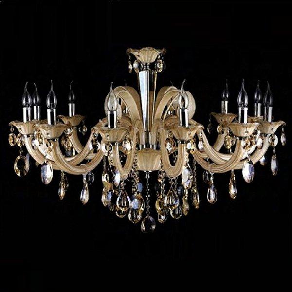 Lustre Candelabro Gallery Cristal Vidro Champagne 72x100cm Bella Iluminação 12 E14 Bivolt YL8206 Salas e Hall
