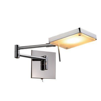 Arandela LED Leitura Articulada Aço Cromado Vidro 12x46cm Bella Iluminação 1 LED 6,6W ZU003 Quartos e Mesas