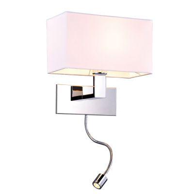 Arandela Leitura Cupula Tecido Metal Cromado 28x18cm Bella Iluminação 1 LED 1W /1 E27 Bivolt ZU009B Mesas e Balcões