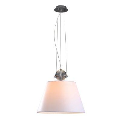 Pendente Vertical Metal Cromado Vidro Tecido Ø40cm Bella Iluminação 1 E27 Bivolt ZU017L Entradas e Salas