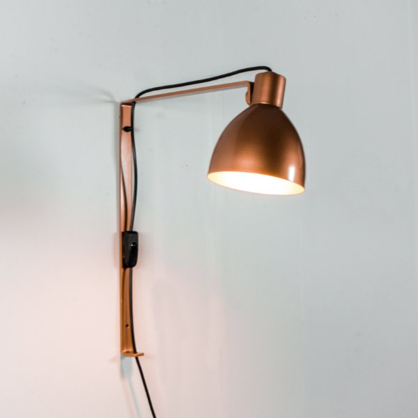 Arandela New Seed Cupula Conica Metal Bronze 45x15cm Golden Art 1x Lâmpada E27 P893-C Corredores e Quartos