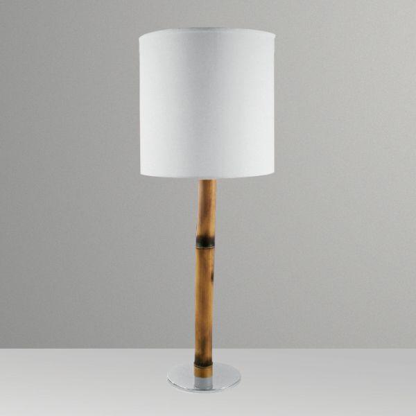 Abajur Bambú Vertical Metal Cupula Tecido 68x15cm Golden Art 1x Lâmpada E27 Bivolt M062 Cabeceiras e Mesas