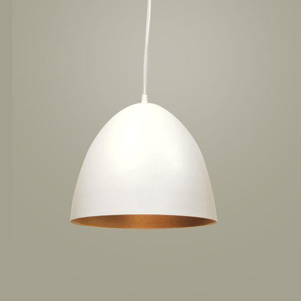 Pendente 1/2 Ovo Vertical Alumínio Branco 30x25cm Golden Art 1x Lâmpada E27 Bivolt T947-30 Quartos e Cozinhas