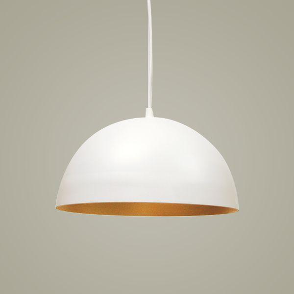 Pendente 1/2 Bola Vertical Alumínio Branco 15x31cm Golden Art 1x Lâmpada E27 Bivolt T949-31 Quartos e Cozinhas