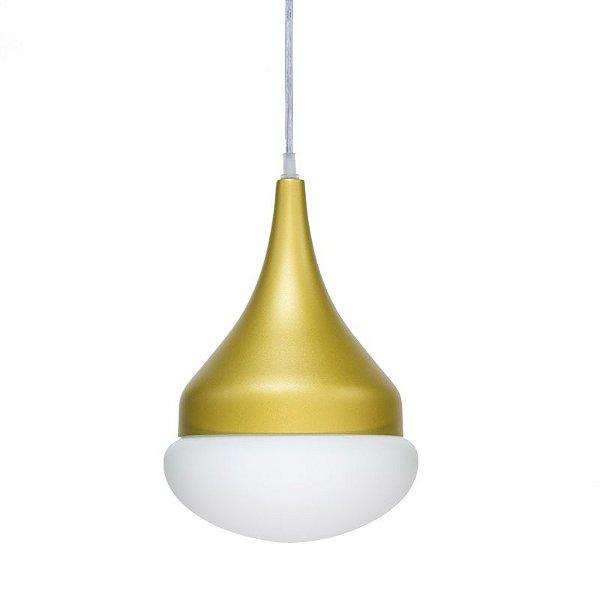 Pendente Simba Vertical Sino Alumínio Vidro 30x15cm Golden Art 1x Lâmpada E27 Bivolt T7451 Cozinhas e Salas