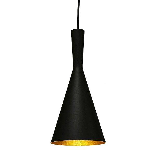 Pendente Cone Vertical Conico Alumínio Preto 40x19cm Golden Art 1x Lâmpada E27 Bivolt T9056-A Cozinhas e Balcões