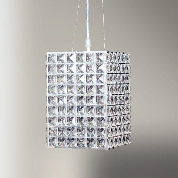Pendente Cristal Retangular Cubico Decorativo 22x15cm Golden Art 1x G9 Halopin Bivolt T959 Salas e Corredores