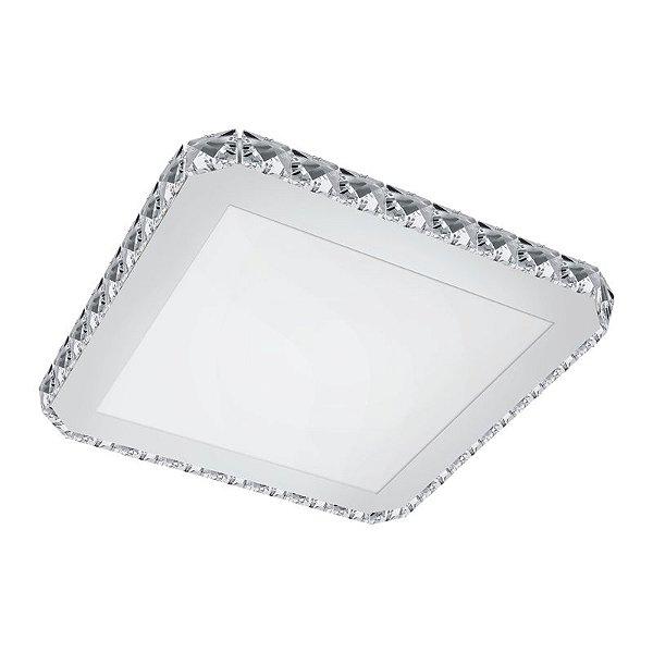 Plafon Inportici Quadrado Vidro Aço Inoxidável 10x31cm Luciin 1x Lâmpada LED 18W Bivolt KG039 Salas e Cozinhas