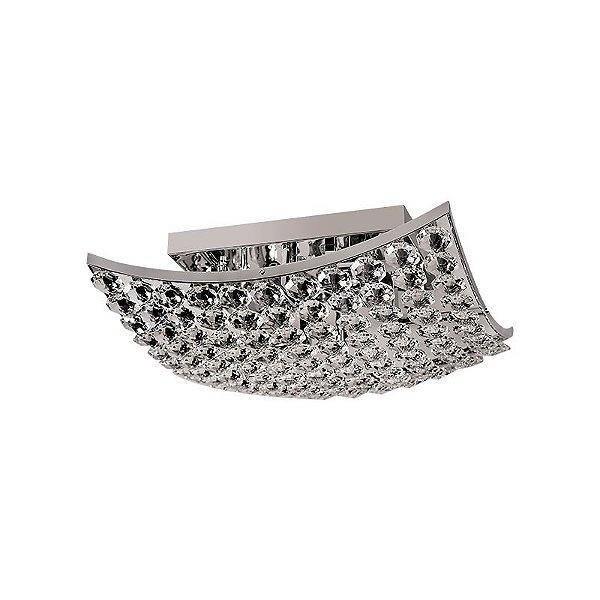 Plafon Inrete Curva Metal Cromado Cristais 13x36cm Luciin 6x Lâmpadas G9 Halopin Bivolt LX062 Quartos e Salas