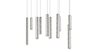 Pendente Inpiastrella Vertical Cristal Metal 80x150cm Luciin 4x Lâmpada Power LED Bivolt LX071 Salas e Hall