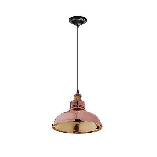 Pendente Inugello Vertical Conico Metal Cobre Dourado Ø30cm Luciin 1x Lâmpada E27 Bivolt ZG172/25 Balcões e Mesas