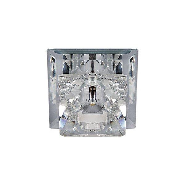 Spot Inmartini Embutido Quadrado Metal Cristal 4x9cm Luciin 1x Lâmpada LED RGB 3W Bivolt ZG222/2 Salas e Cozinhas