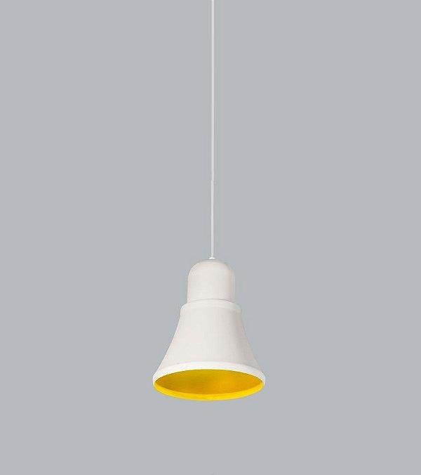 Pendente Beluga Med Conico Alumínio Branco 25x21cm Usina Design 1x Lâmpada E27 Bivolt 16025-20 Mesas e Balcões