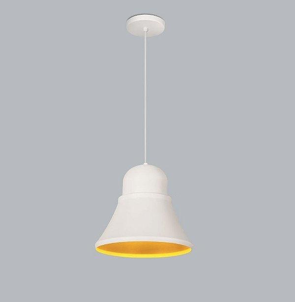 Pendente Beluga Gde Conico Alumínio Branco 27x25cm Usina Design 1x Lâmpada E27 Bivolt 16025-27 Mesas e Balcões