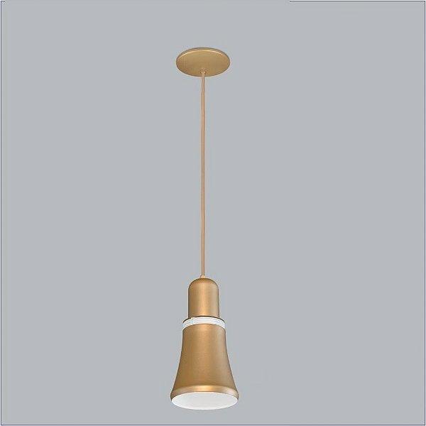 Pendente Merengue Peq Tubular Metal Dourado 27x13cm Usina Design 1x Lâmpada E27 Bivolt 16030-14 Mesas e Balcões