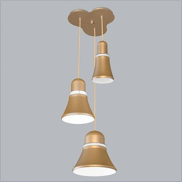Pendente Merengue Mix 3 Moderno Metal Dourado 27x60cm Usina Design 1x Lâmpada E27 Bivolt 16032-3 Mesas e Balcões