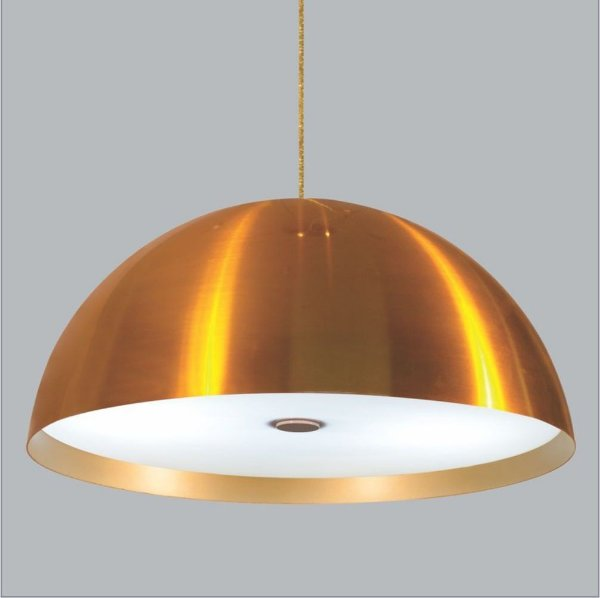 Pendente Coliseu One Med Difusor Metal Dourado 15x48cm Usina Design 3x Lâmpadas E27 Bivolt 16040-48 Salas e Mesas