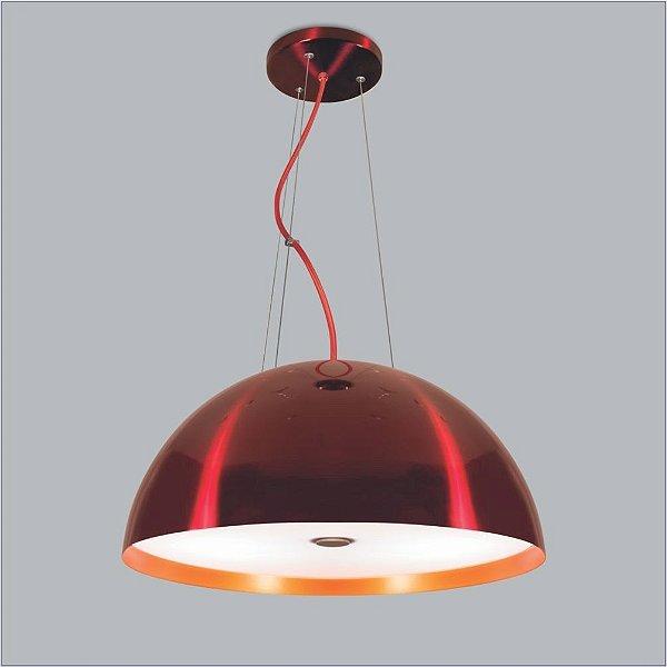 Pendente Coliseu Three Gde Difusor Metal Vermelho 15x60cm Usina Design 4x E27 Bivolt 16041-60 Salas e Mesas