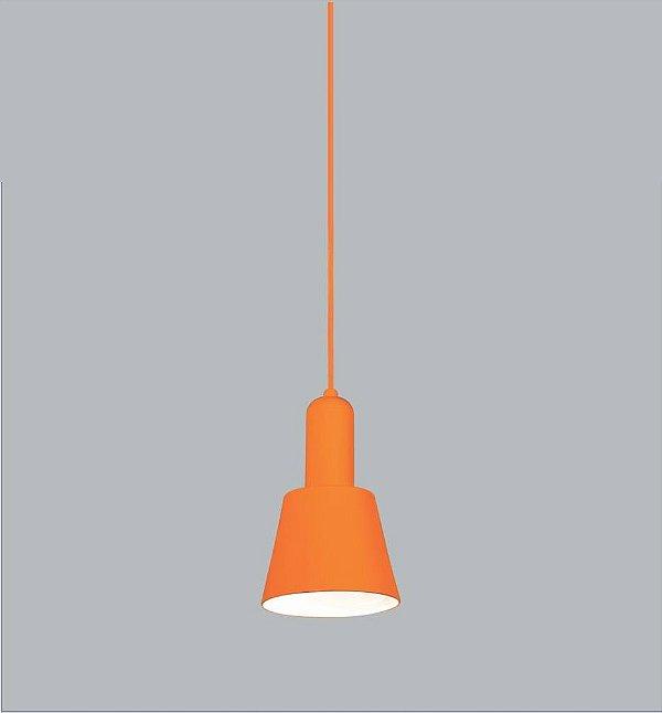 Pendente Aquarela Vertical Conico Metal Laranja 20x12,5cm Usina Design 1x E27 Bivolt 16205-13 Salas e Quartos