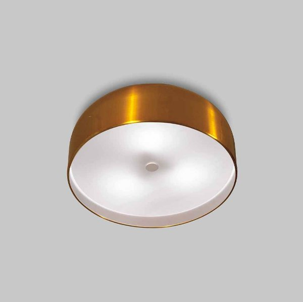 Plafon Oberon Sobrepor Redondo Alumínio Dourado 10x50cm Usina Design 6x E27 Bivolt 16210-50 Entradas e Quartos