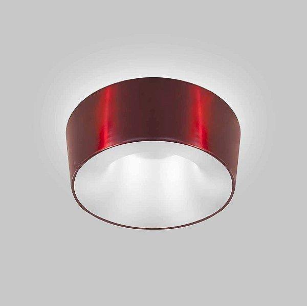 Plafon Vulcano Sobrepor Redondo Metal Vermelho 15x35cm Usina Design 2x E27 Bivolt 16215-35 Entradas e Salas