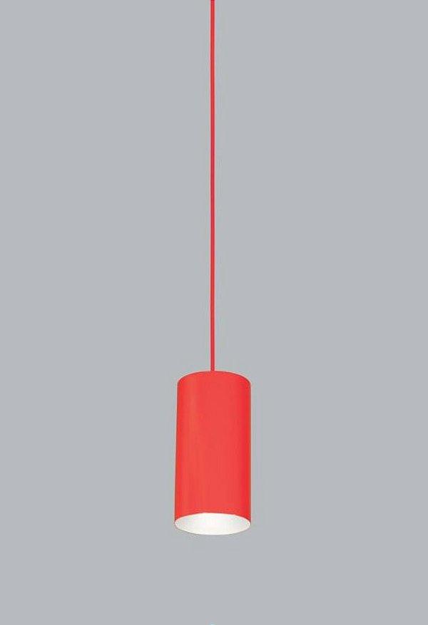 Pendente Ducto PP Vertical Tubular Metal Vermelho 18x11cm Usina Design 1x E27 Bivolt 16256-20 Balcões e Cozinhas