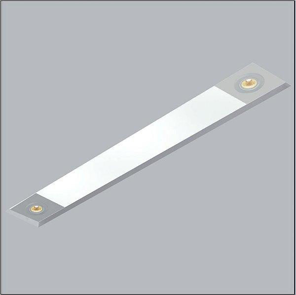 Plafon Now Frame Embutido Retangular Acrílico 12x143cm Usina Design 2 T8 Tubular/ 2 GU10 30090-139 Salas e Entradas
